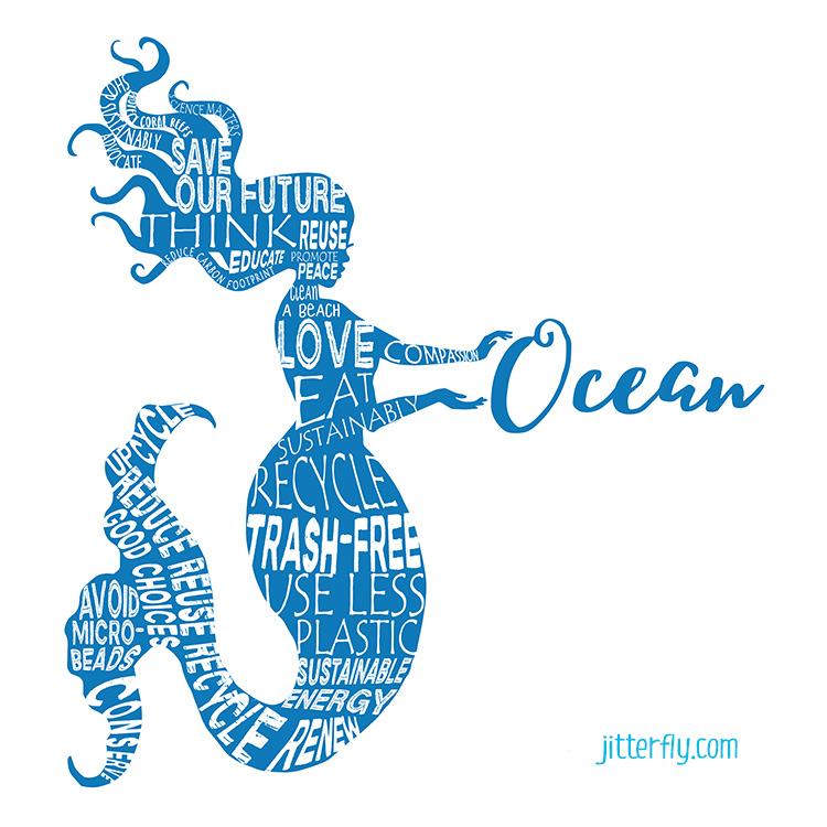 Save the Oceans Word Bubble Mermaid 750